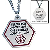 Personalized Medical ID Necklace - Free Custom Engraving - Hypo-allergenic Stainless Steel - Choice of Size and Engraving - Classic with Front and Back Side Engraved
