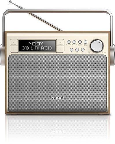 Philips AE5020 tragbares Radio (mit DAB+, Digital UKW, Akku oder Netzbetrieb, Programmspeicher) braun/silber