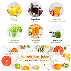 Slow Juicer, FEZEN Juicer Machines Vegetable and Fruit, Cold Press Juicer Easy to Clean, Slow Masticating Juicers with Quiet Motor & Reverse Function, Juicer Extractor 90% Juicer Yield & Purest Juice