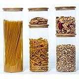 Bay & Iye Juego de 5 Botes de Cocina | Frasco de Vidrio de Almacenamiento con Tapa hermética de bambú Ideal para té, café, azúcar, Pasta, harina, Galletas y Cereales