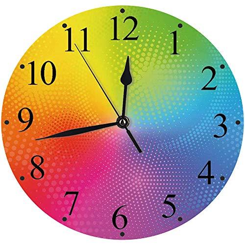 Yaoni lautlosem Uhrwerk - 30 cm Rund Wanduhr,Regenbogen, Lebendige Neonfarben Kreise Runden Punkte Strahlende Komposition Irisierender Effekt Druck,für Wohn- /Schlaf-Kinderzimmer Büro Cafe Restaurant