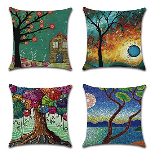 SOZZRC Cushion Covers 45 x 45cm Set of 4 Cotton Linen Throw Pillow Case Cushion Cover - Sofa Bed Chair Cushion Covers 18x18 inch/Tree of Life