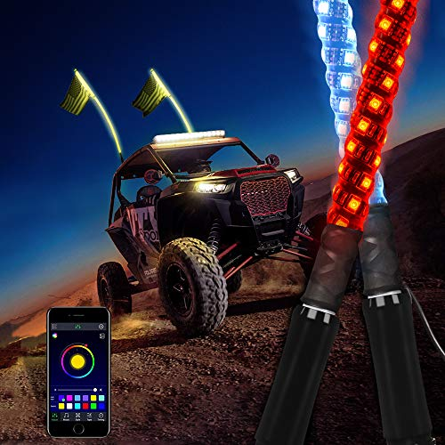 MICTUNING 2pc 4ft Spiral LED Whip Lights with Flag, APP Bluetooth Control with Flow Chasing Mode Multi-colors Lighted Antenna Whips compatible with ATV UTV RZR Jeep Trucks Dunes