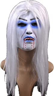 HESANYU AU Halloween Bar Dance Party Scary Latex Fear Mask White Hair Bleeding Mask White Hair Witch Mask (Color : A)