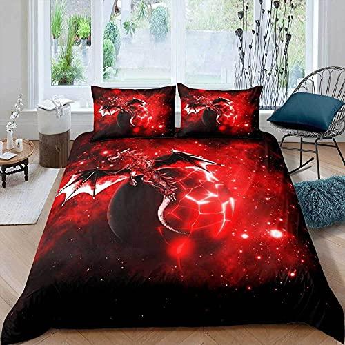 Wnyun Funda nordica Juego de Ropa de Cama Dragón Estrellado Rojo con Estampado en Microfibra Ropa de Cama con edredón con Estampado Digital para Dormitorio,con 2 almohadas-240x220cm