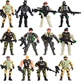 Fycooler Special Forces Army Men Combat SWAT Soldier Action Figures Toy Soldiers with Military Weapons Removable and Accessories Arm Legs Body Adjustable Best Toys Action Figures (4-Inches)