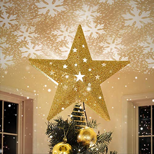 IPOW LED Snowflake Projector Star Christmas Tree Topper, 11.3'' Golden Glittered Star Treetop Lighted Rotating Snow Flake for Christmas Tree Decoration, Ideal as LED Night Light Projector for Children