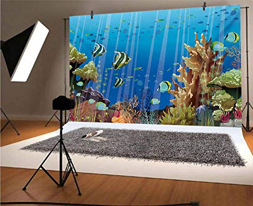 Marine 20x10 FT Vinyl Photography Background Backdrops,Majestic Universe Deep Underwater World Exotic Coral Reef with Sea Creatures Nature Background for Graduation Prom Dance Decor Photo Booth Studio