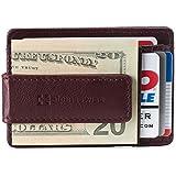 Alpine Swiss Harper Mens RFID Slim Money Clip Front Pocket Wallet Minimalist Leather ID Card Holder Burgundy