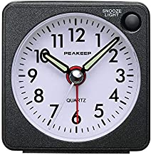 Peakeep Ultra Small, Battery Travel Alarm Clock with Snooze and Light, Silent with No Ticking Analog Quartz (Black)