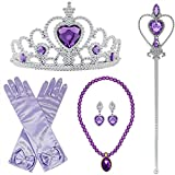 BanKids Princess Crown Magic Wand Gloves Necklace and Earring Cosplay for Princess Costume Toddler Girls (Purple 5X)