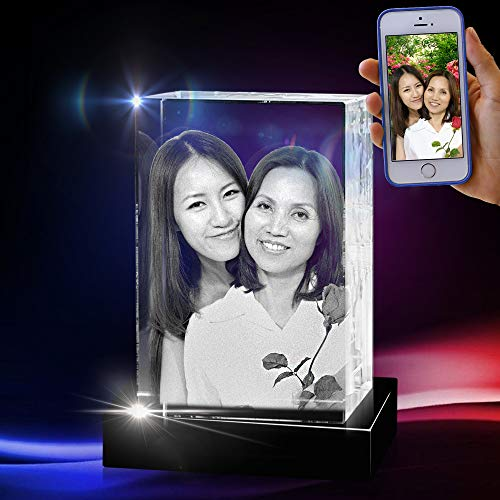3D Cube Crystal with a Free LED Base That Illuminates The Crystal, Personalize with Your own Custom Engraving (X-Large Portrait)