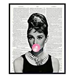 Audrey Hepburn Blowing Bubble - Wall Art Print on Dictionary Photo - Ready to Frame (8X10) Vintage Photo - Great Home Decor or Gift For Pop Art Lovers