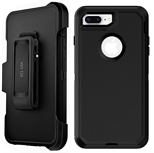 ECL USA The Eagle Case for iPhone 7 Plus and iPhone 8 Plus Case Cover with Belt Clip Kickstand Holster and Built-in Screen Protector (Plus ONLY)(Black/Black)