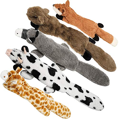 Nocciola 5 pcs Crinkle Dog Squeaky Toys with Double Layer Reinforced Fabric Durable Dog Toys No Stuffing Plush Dog Toy Set for Small to Large Dogs