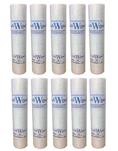 PP Osmose inverse Lot de 10 cartouches filtres à sédiments 5 microns 25 cm Pour osmose inverse, lances de nettoyage, traitement de la dureté de l'eau de puits
