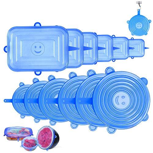 Couvercle Silicone Alimentaire, 12 pcs Extensible Couvercles Silicone Réutilisable carré,Hangable Cuisine Couvercles pour Alimentaire, Fruits, Tasses, Bols, Bocaux, Micro-Ondes/Four/Frigo(bleu)