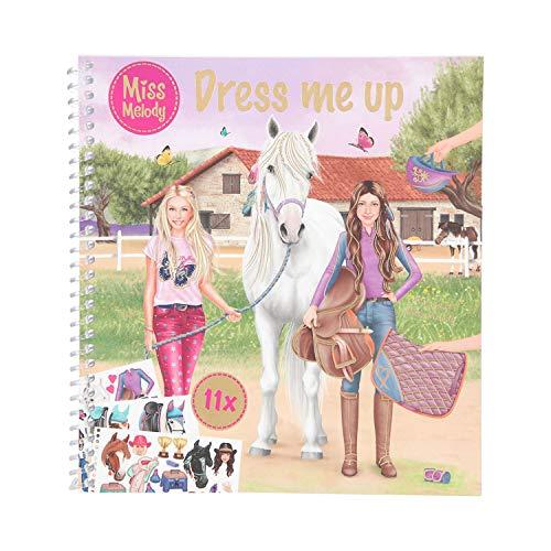 Depesche 11498 Miss Melody - Dress me up, Mal- und Stickerbuch mit 24 Seiten und 11 Stickerbögen, ca. 17,8 x 19 cm groß, zum Kreieren toller Outfits für Reiter und Pferd