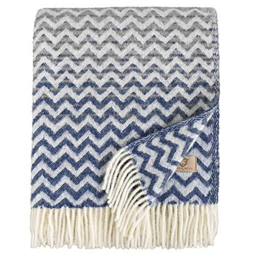 Linen & Cotton Luxus Warme Decke Wolldecke Bunt Wohndecke Kuscheldecke Aurora - 100% Reine Neuseeland Wolle, Marine Blau/Grau (130 x 170cm) Sofadecke/Überwurf/Plaid Couch Sofa/Schurwolle Blanket