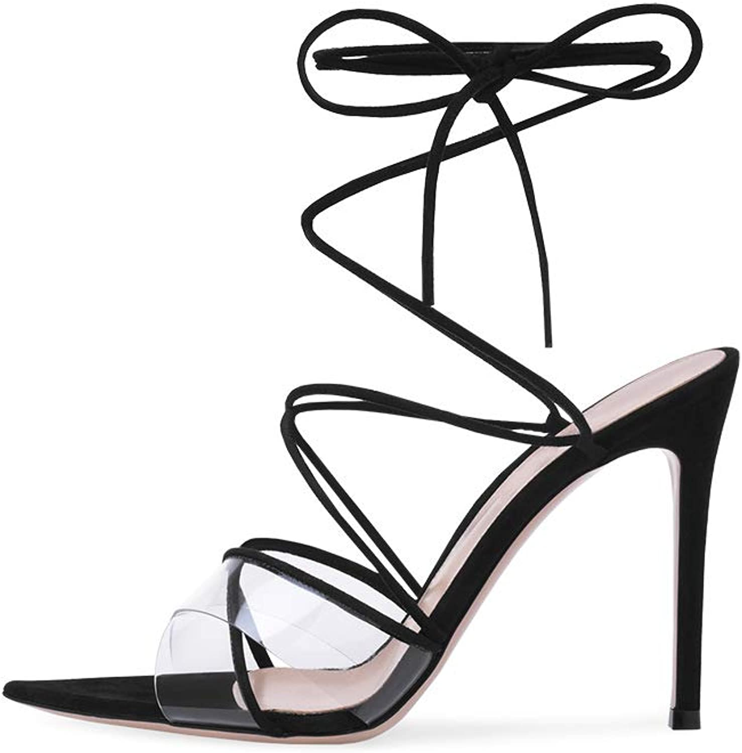 Womens Ankle Strap Sandals Stiletto High Heel shoes Transparent PVC Ladies Peeptoe Pointed Toe Strappy Party shoes 3-12