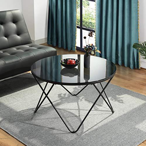 Runder Couchtisch Glas Tischplatte Wohnzimmer