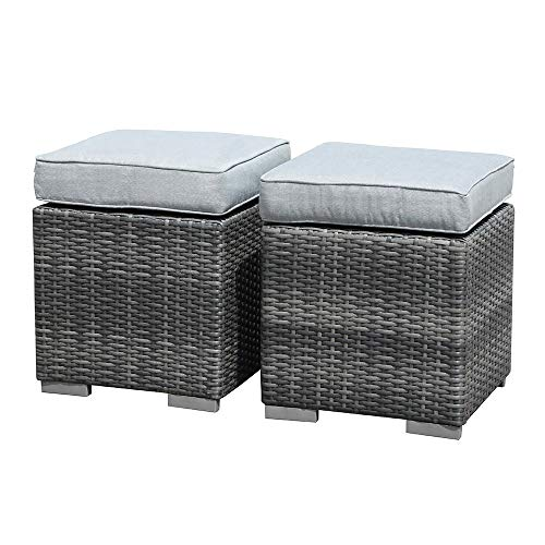 Patiorama 2 Pieces Assembled Outdoor Patio Ottoman, Indoor Outdoor All-Weather Grey Wicker Rattan Outdoor Footstool Footrest Seat with Light Grey Cushions, No Assembly Required