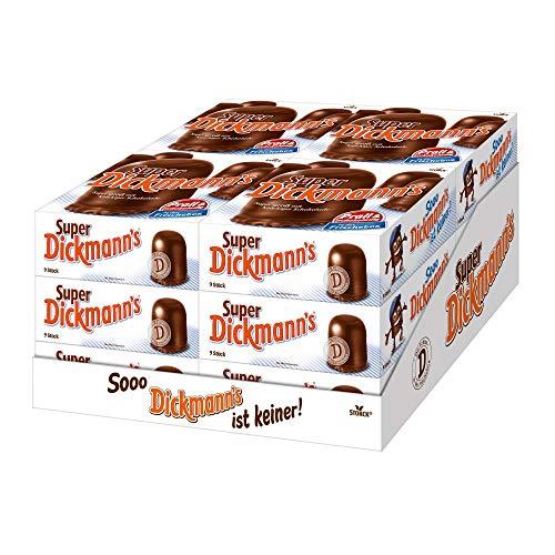 Super Dickmann's (12 x 9er Packung) / Große, schokoladige Schaumküsse mit Waffel