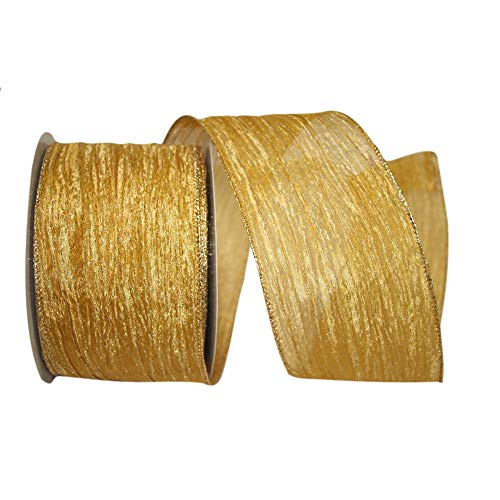 Reliant Ribbon Crushed Mesh Value Wired Edge Ribbon, 4 Inch X 30 Yards, Gold