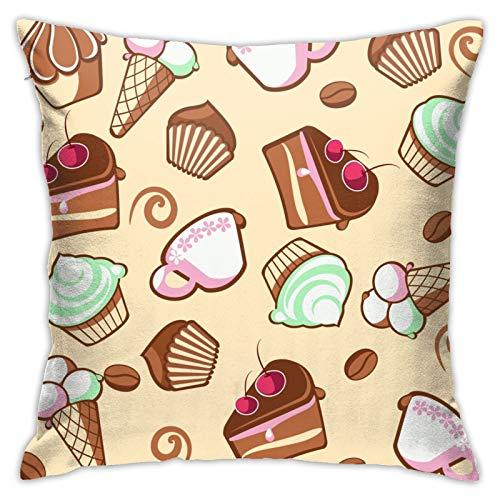 RETRUA Fundas de cojín para tarta de helado, funda de almohada decorativa para el hogar, para sala de estar, dormitorio, sofá, silla, 45 x 45 cm