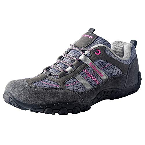 Knixmax Women's Hiking Shoes Lightweight Non-Slip Climbing Trekking Sneakers for Woman Camping Backpacking Shoe Grey Size 8 US/EU 39