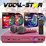 Vocal-Star VS-400 - Máquina de karaoke HDMI (2 entradas de micrófono), color rosa