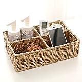 Canasta almacenamiento multifuncional ratán tejida a mano, caja almacenamiento oficina escritorio, canasta almacenamiento artesanías, almacenamiento y almacenamiento diario.-4 cells  creamy-white
