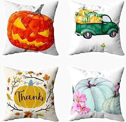Gypsophila 4 Fall Pillow Covers,Autumn Thanksgiving Day Halloween Day Home Décor Pack 4 Handdrawn Logo Family Farm Fresh Vegetable for Sofa Home Decorative Pillowcase 20x20Inch Pillow Covers