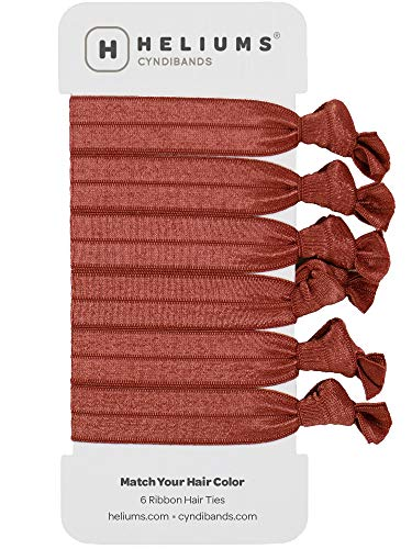 Cyndibands Auburn Red Match Your Hair Color Gentle Knotted Ribbon Elastic Hair Ties for Red Hair and Redheads - 6 Count