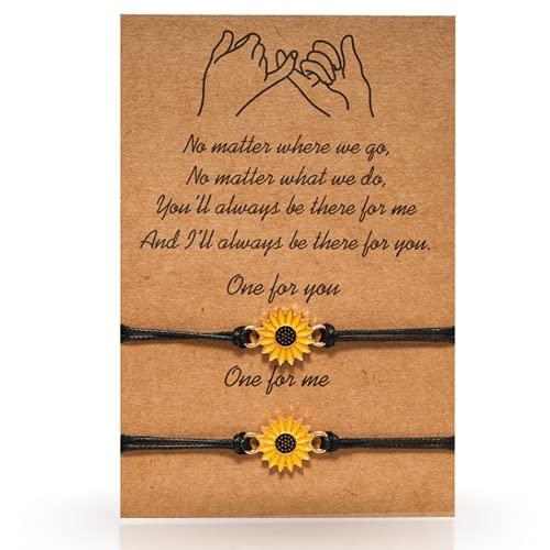 Sunflower Bracelets - 2 Pieces Handmade Sunflower Bracelets or Anklet - Friendship Charm for Teens and Women