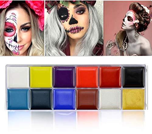 脸部彩绘套件为孩子和成人12个色专业水基涂料万圣节角色扮演化妆盒面部及身体油漆调色板