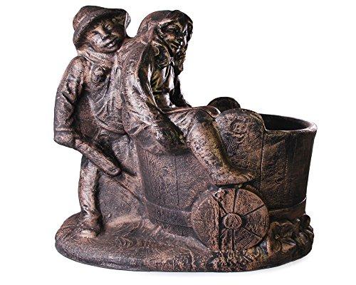 Pflanzgefäß Junge und Mädchen mit Schubkarre Antik bronze Blumentopf