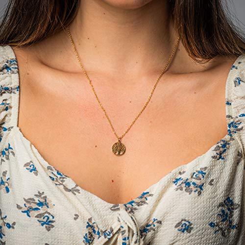 Damen Kette in Gold - Filigrane Halskette für Frauen mit Lebensbaum Anhänger - Made by Nami Handmade Schmuck - Geschenk zum Geburtstag (Gold Baum)