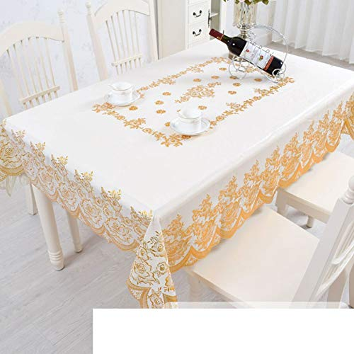 Family Life Equipment European-style dining table mat bronzing Pvc Plastic Waterproof Oil-proof Anti-scalding Disposable Oblong table cloth Table cloth-C 135x180cm(53x71inch)