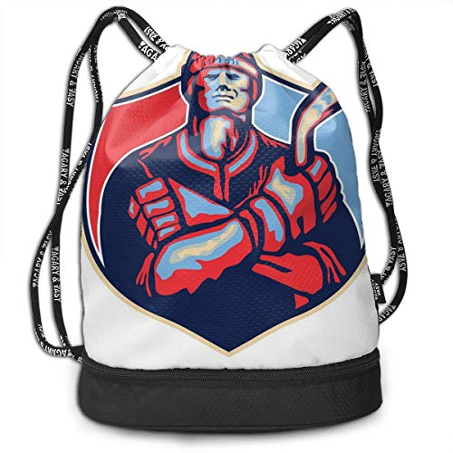 DDHHFJ Multifunctional Drawstring Backpack for Men & Women, Illustration of An Ice Hockey Player Holding Stick In Retro Style,Travel Bag Sports Tote Sack with Wet & Dry Compartments