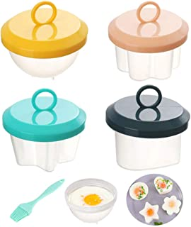4 PCS Egg Poaching Cups,Egg Cooker Nonstick,Four Different Shapes Poached Egg Maker For Cooking Breakfast Omelette Egg McM...