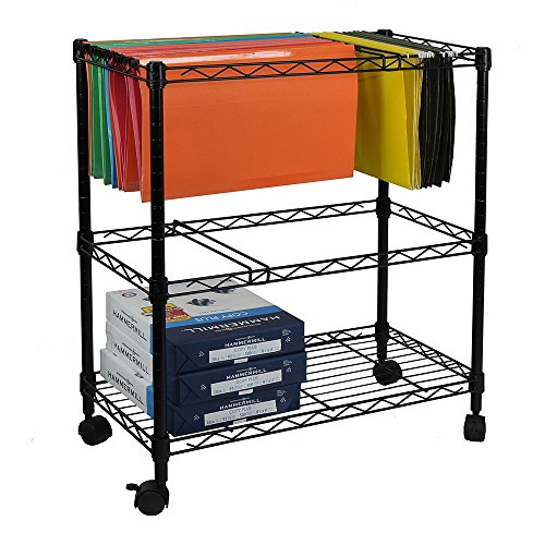 Metal Compact Mobile Letter File Cart,Utility Racks,Rolling File Cabinet Storage Organizer Shelf Cart with Swivel Wheels for Mobile (23.6' x 12.6' x 27.6')