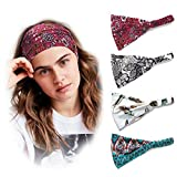 Moiky Turban Headbands for Women Wide Boho Floral Yoga Sport Hair Bands,Pack of