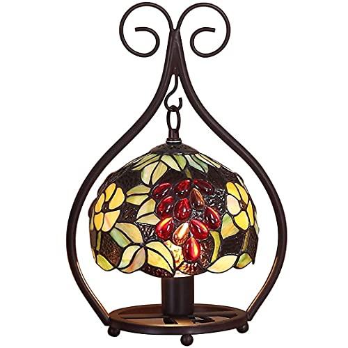 Lámparas de mesa estilo Tiffany, lámparas de cabecera con vitrales, dormitorio, sala de estar, decoración de uva, lámparas de escritorio, luz de noche para habitación de niños, E27, MAX40W Nice family