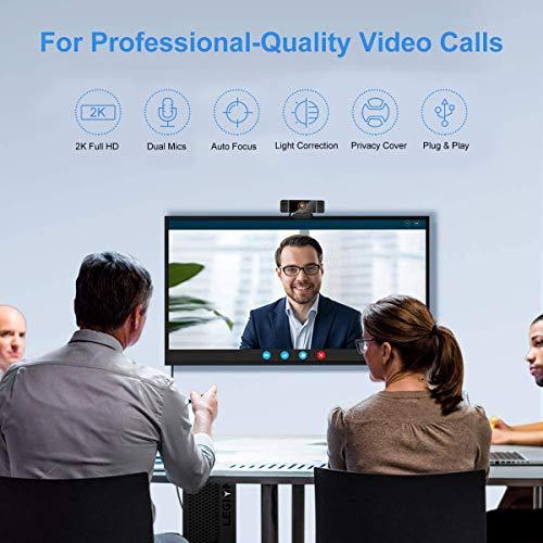 Webcams mit Mikrofon, 2K Full HD Webcam mit Automatischer Lichtkorrektur, Geräuschreduzierung-Mikrofone, Plug & Play, USB Webcam für Live-Streaming, Videoanruf, Konferenz, Online-Unterricht, Spiel