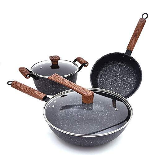 Multifunctionele praktische pannenset pannenset braadpan en kookpannenset Cerastone gesmeed aluminium met Easy Clean non-stick Ceramic Coating (kleur: zwart, maat: vrije grootte)