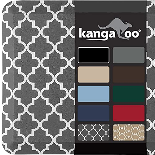 Kangaroo 3/4 Inch Thick Superior Cushion, Stain Resistant Kitchen Rug and Anti Fatigue Cushioned Foam Comfort Floor Padding, Stand Up Desk, Washable Standing Decor Mat, 17x24, Quatrefoil Gray White