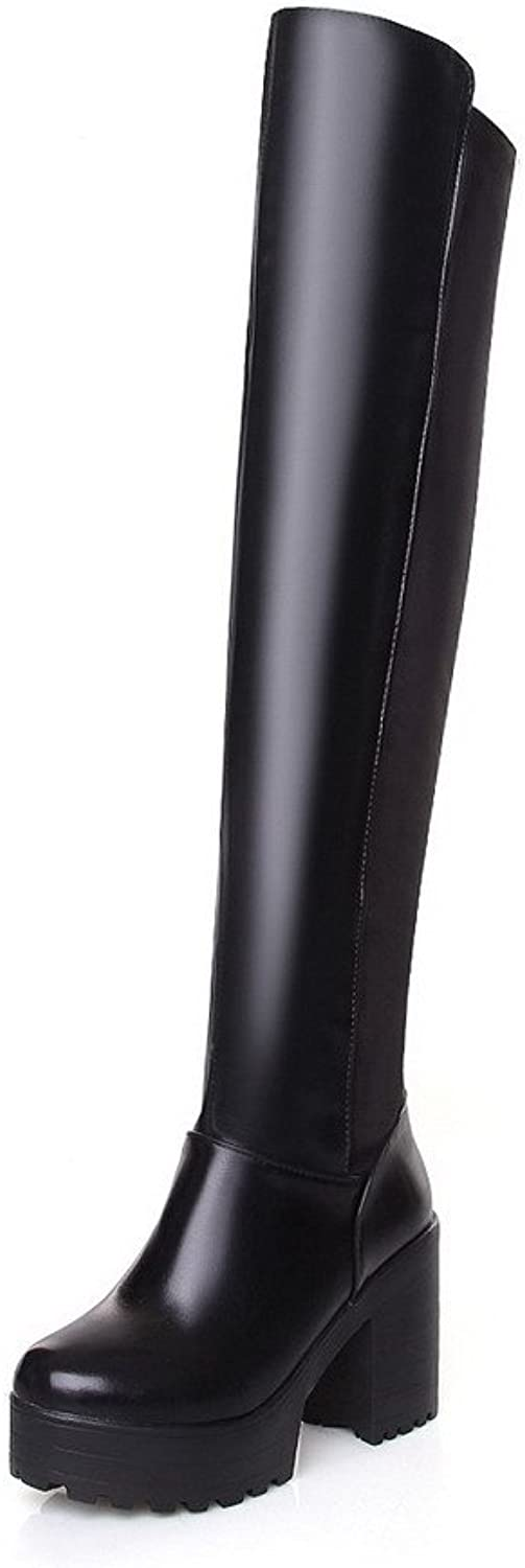 WeiPoot Women's High-Heels Round Closed Toe Frosted Thigh-high Boots