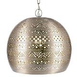 Lámpara Oriental Marroquí - lamparilla colgante - farola de techo Herera Plateado - 30cm - muy práctica para una iluminación excelente - transmite una decoración excelente refinada