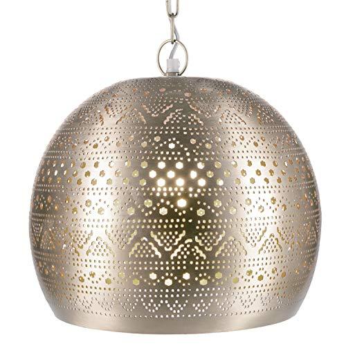 Orientalische Lampe Pendelleuchte Herera 30cm Silber E27 Lampenfassung | Marokkanische Design Hängeleuchte Leuchte | Orient Lampen für Wohnzimmer, Küche oder Hängend über den Esstisch